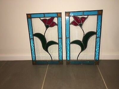 2x Double Glazed Stained Glass Window Panes