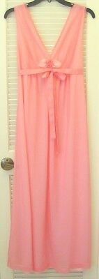 Sheer ovr Solid Vintage 60s HANSON KICKERNICK Pink Nylon Nightgown Ribbon Tie 38