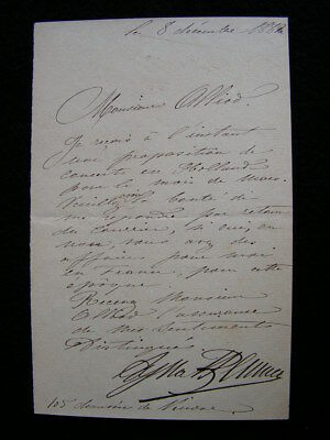 L.A.S lettre autographe opera dyna beumer 1882 N° 377