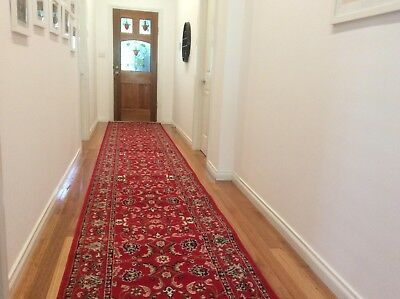 Hallway Runner Hall Runner Rug Traditional Red 6 Metres Long x 1 Metre Wide 34