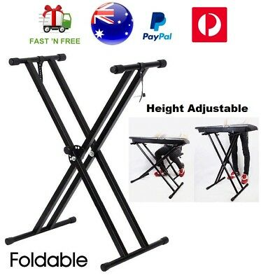 Height Adjustable Folding Electronic Keyboard Stand Music X Type Piano Holder