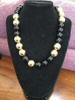 Vintage Signed Monet Black And Gold Large Beaded Necklace With Hook Clasp