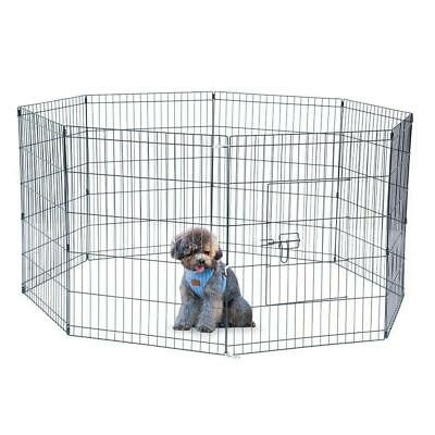 "30"" Tall Wire Fence Pet Dog Cat Folding Exercise Yard Play Pen Black Kennel Cage"