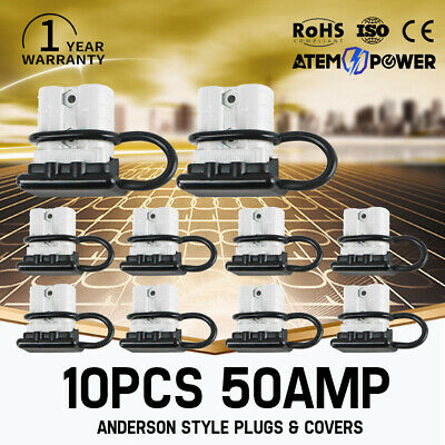 10PC 50 AMP Anderson Style Plug Connectors With Dust Cap Cover DC 12V 24V 6AWG