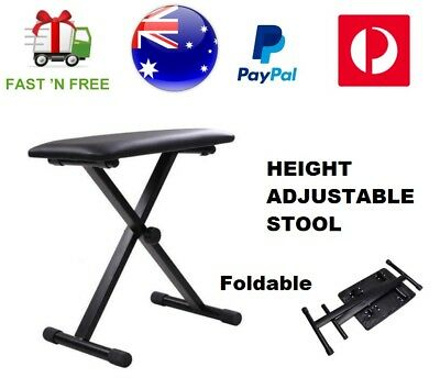 Height Adjustable Folding Keyboard Piano Stool Portable Music Bench Seat Chair