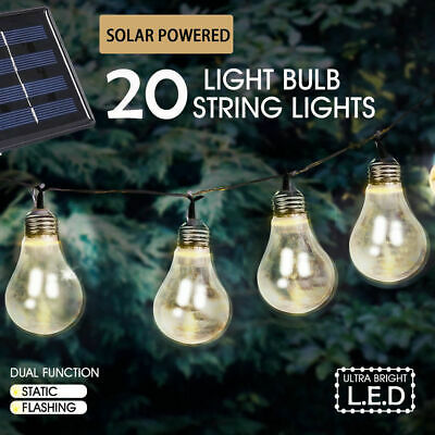 20 Deluxe Bright LED Solar Festoon Party String Lights Warm White Clear Blub