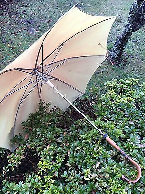 Vintage Antique Umbrella Parasol Wooden Bamboo Handle J smooth Glide Mechanism