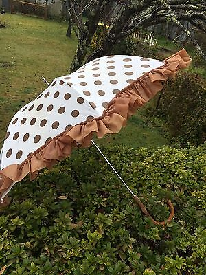 Vintage Antique Umbrella Parasol Wooden Handle Frill Edge Brown Polka Dot