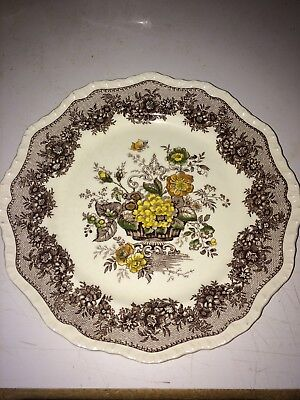 """Vintage 10 3/4"""" Mason's England Ascot Brown Hand Painted Ironstone Dinner Plate"""