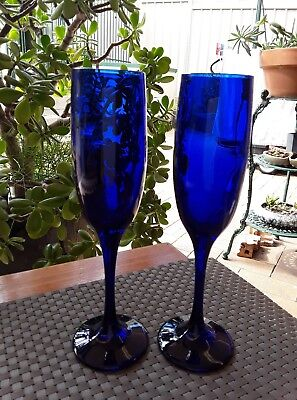Two Vintage Cobalt Blue Tall Fluted Champagne Wine Toasting Glasses