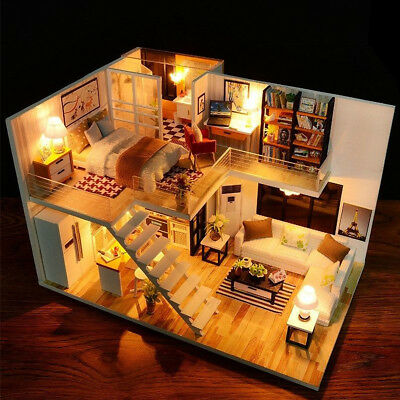 DIY Wooden Loft Apartments Dollhouse Miniature Kit W/ Furniture LED Light Gifts