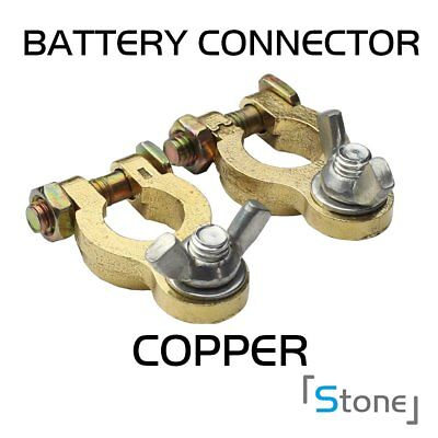 2Pcs Wing-nut Auto Car Copper Battery Terminal Clamp Clips Brass Connector