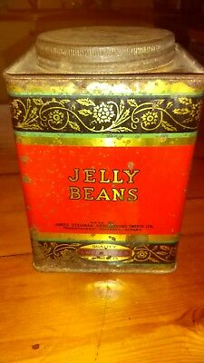 AUSTRALIAN 5LB SWEETACRES RED JELLY BEANS TIN tea cannister