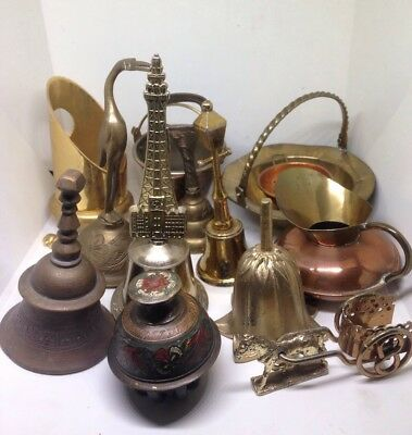 Mini JOB LOT of SMALL Vintage BELLS Antique VINTAGE Solid Brass - Mixed Joblot