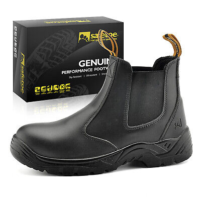 Safety Work Boots Mens Shoes Steel Toe Black Leather Water Resistant Slip on US