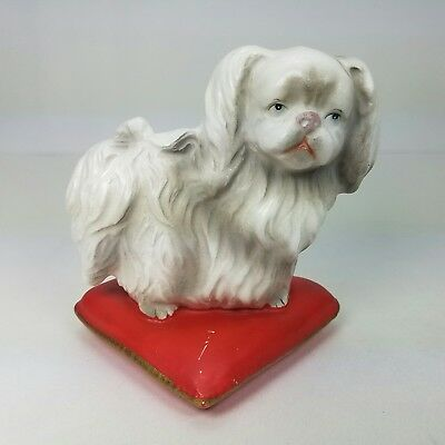Vtg White Maltese Mix Small Toy Breed Puppy Dog On Red Pillow Ceramic Figurine