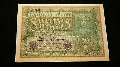 1919  50 Mark  German Empire Banknote  #  40