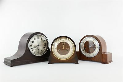 Lot of 3 x Vintage Mantle Clocks Key-Wind Mixed Designs SPARES&REPAIRS 9997g