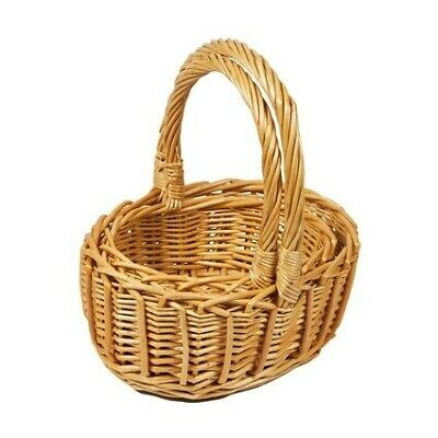 Set of 2 Oval Wicker Hamper Gift Basket With Carry Handles - Natural