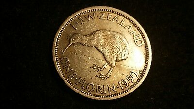 1950 New Zealand Florin  King George The Sixth  Coin  -  # 1642