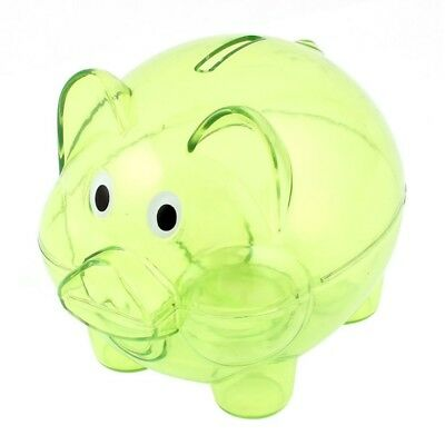 Plastic Collectible Piggy Bank Coin Savings Money Cash Box Clear Green Y7R8