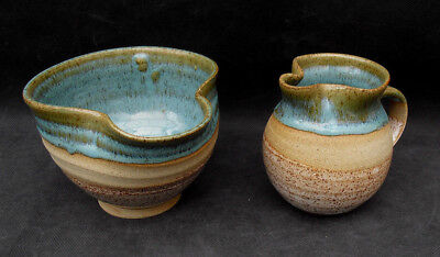 Wendy Fowler studio pottery jug and pouring bowl with lip turquoise and brown