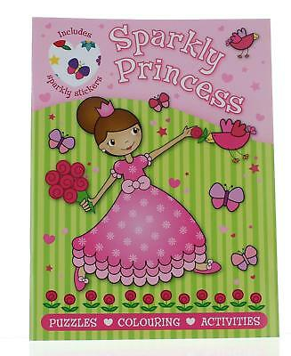 Kids Girls Sparkly Princess Activity Sticker Book Puzzles Colouring Activities