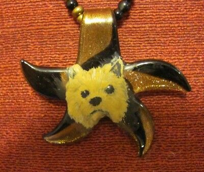 Norwich Terrier hand painted on Murano starfish pendant/bead/necklace