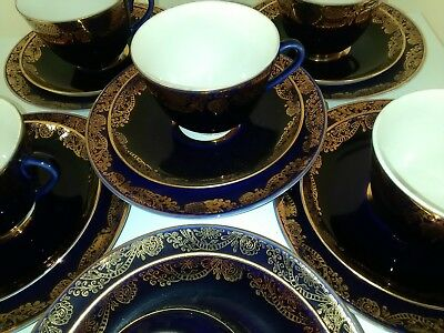 Vintage Tea Set Lomonosov porcelain USSR red mark blue with gold gilding