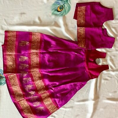 Purple Color Silk Lehenga And Blous Used Twice For 5-6 Year Old