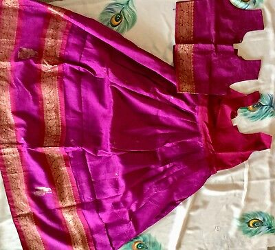 Purple Color Silk Lehenga And Blous Used Twice For 10 - 12 Year Old