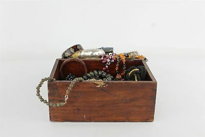 Job Lot of Vintage Mixed Costume Jewellery Presented in Wooden Chest