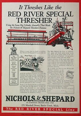 1928 Ad.(Xc16)~Nichols & Shepard Co. Battle Creek,mi. Red River Special Thresher