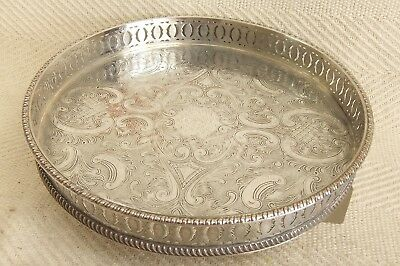 """Lovely Vintage Silver on Copper Silver Plated Gallery Tray on Bun Feet 9.5"""""""