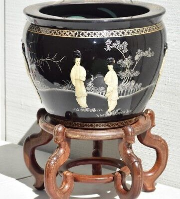 Large Chinese Porcelain Black Lacquer Figural Jardiniere Hand Painted Planter