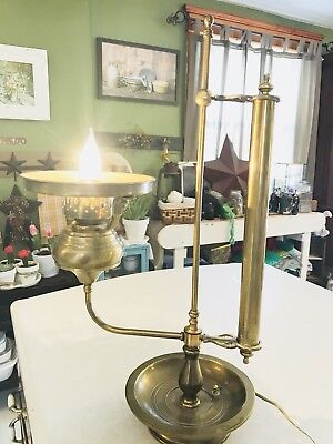 Antique Brass Student Bankers Desk Table Lamp No Shade