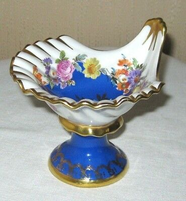Rudolf Wachter RW Bavaria Footed Mint Dish Shell Blue Floral