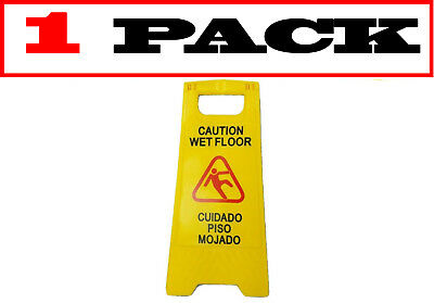 "[1 Pack] JL English&Spanish ""Wet Floor"" Sign ,Case of Two, Bright Yellow,Plastic"