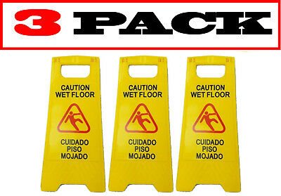 "[3 Pack] JL English&Spanish ""Wet Floor"" Sign ,Case of Two, Bright Yellow,Plastic"