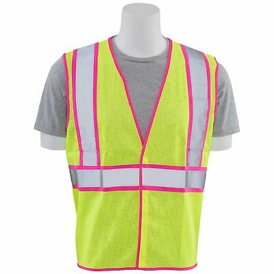 ERB Class 2 Reflective Pink Trim Mesh Safety Vest, Yellow/Lime