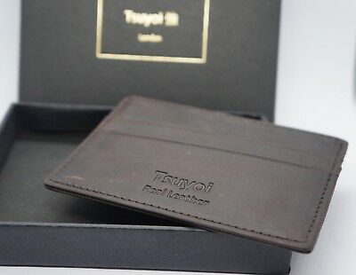 RFID Blocking Slim Leather Card Holder Wallet & Gift Box  Quality Real Leather