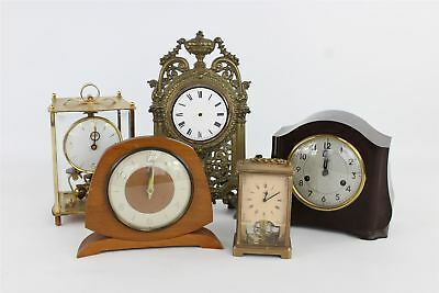 Lot of 5 x Vintage HAND/KEY WIND Mantle Clocks Mixed Designs SPARES&REPAIRS