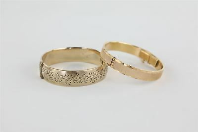 Lot of 2 x Vintage Bangles inc 9ct Gold on Metal Core - Diamond Cut , Floral 66g