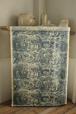 Vintage Toile blue fabric Stout Bros. Co. c 1930 UNUSED material upholstery 4.4Y