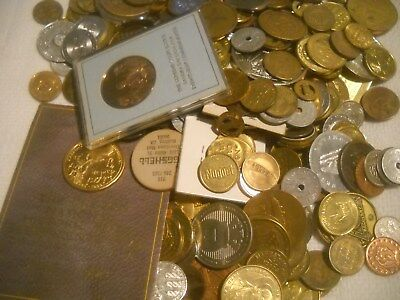 Super Tokens Lot Commeratives Foreign Coins Mixed Lot  over 6 Pounds