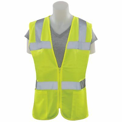 ERB Women's Class 2 Reflective Safety Vest with Pockets, Yellow/Lime