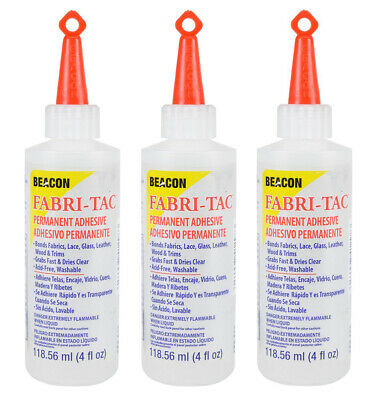Three-Pack of Beacon Fabri-Tac Permanent Adhesive, 4 Ounce