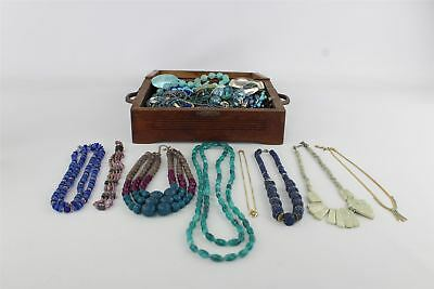 Job Lot of Vintage Mixed Costume Jewellery Inc.Necklaces In Wooden Chest
