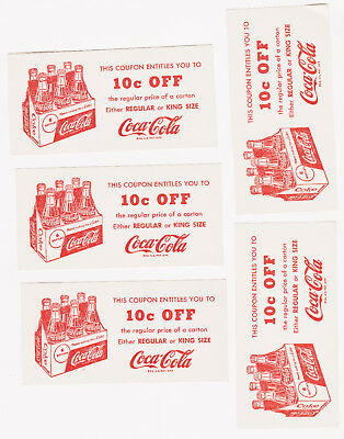 (2) Vintage 1950's Coca Cola 10¢ OFF Regular or King Size Coupon's