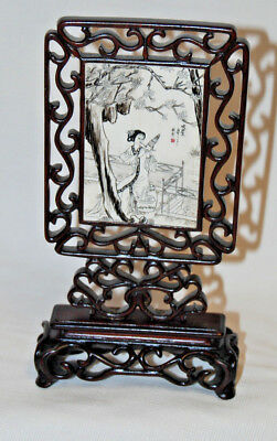 Antique 19th Century Chinese Hand Carved Pen & Ink Table Screen Gesha